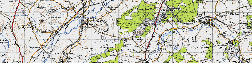 Old map of Laxton in 1946