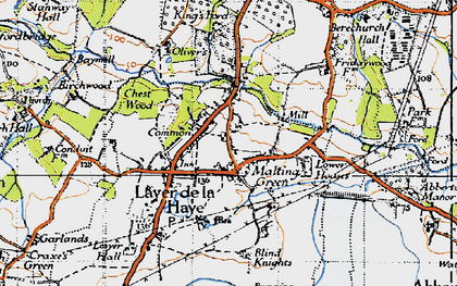 Old map of Abberton Reservoir in 1945