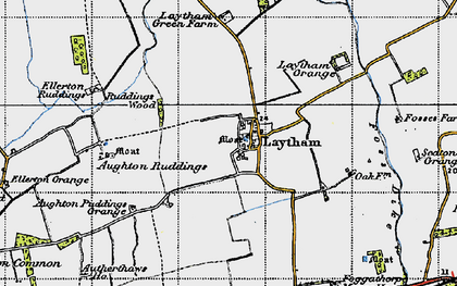 Old map of Aughton Ruddings in 1947