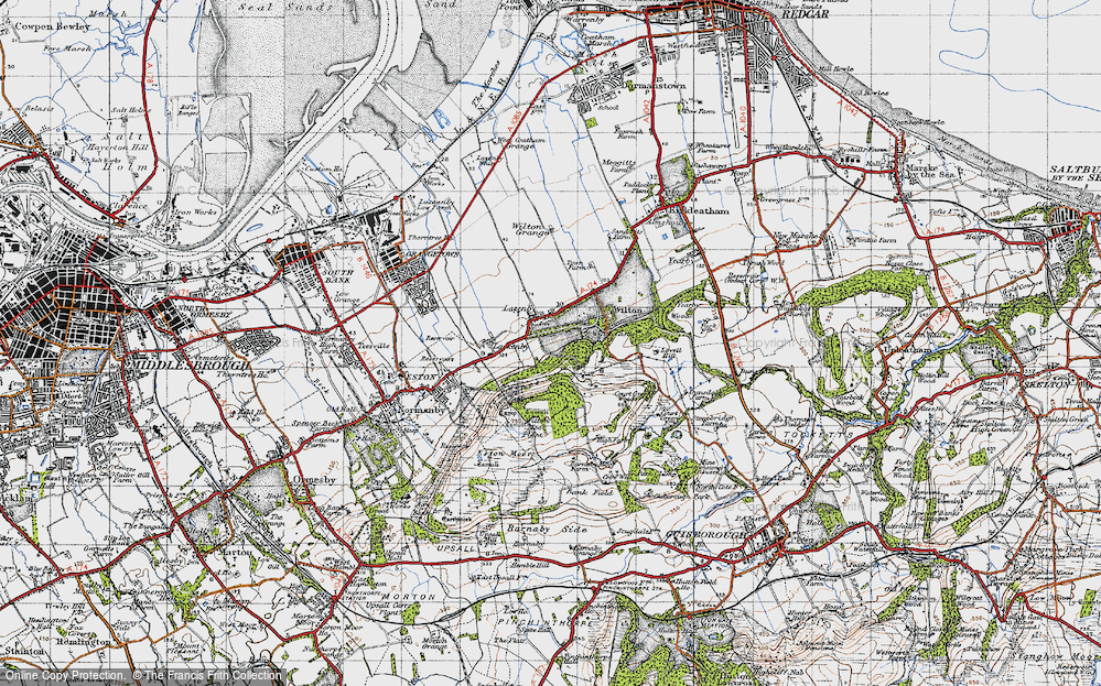 Old Map of Historic Map covering Lazenby Bank in 1947