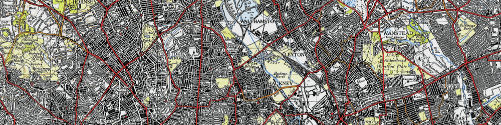 Old map of Lea Bridge in 1946