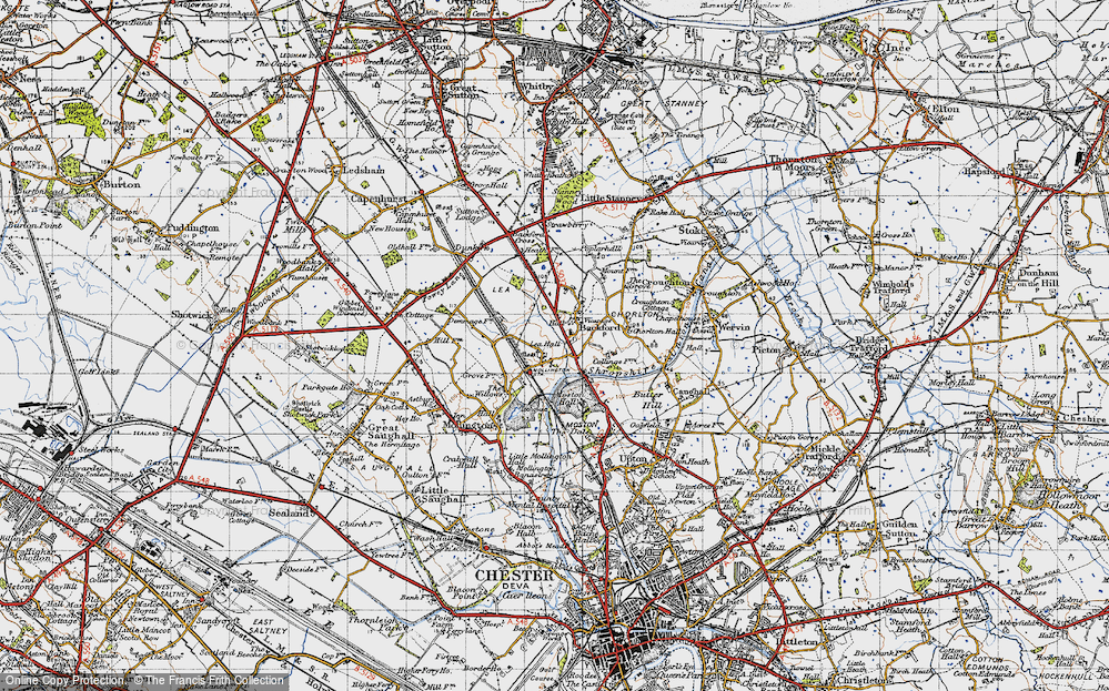 Old Map of Lea by Backford, 1947 in 1947
