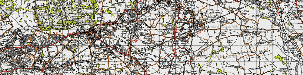 Old map of Lea Green in 1947