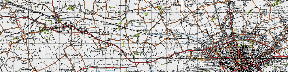 Old map of Lea Town in 1947