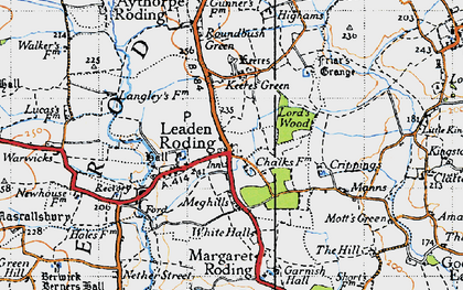 Old map of Leaden Roding in 1946