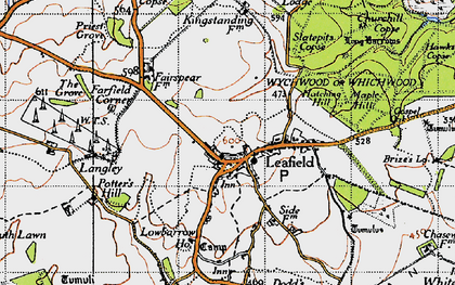 Old map of Leafield in 1946