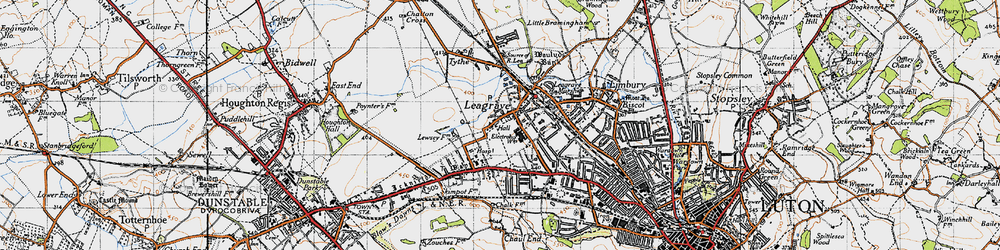 Old map of Leagrave in 1946