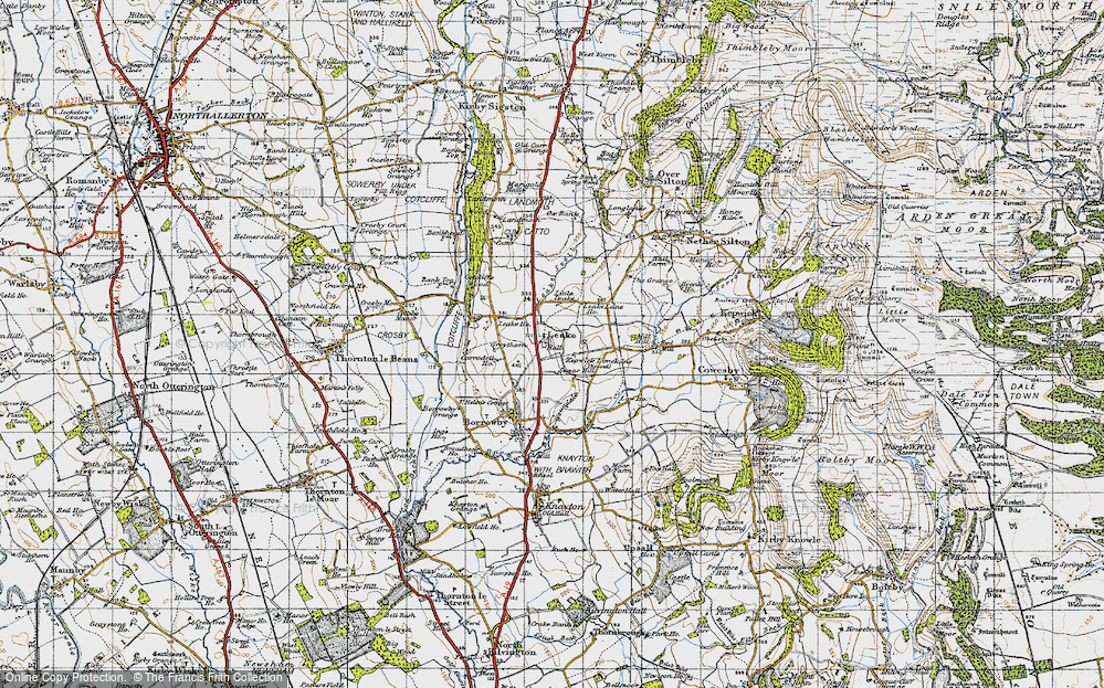 Old Map of Historic Map covering Leake Lane Ho in 1947