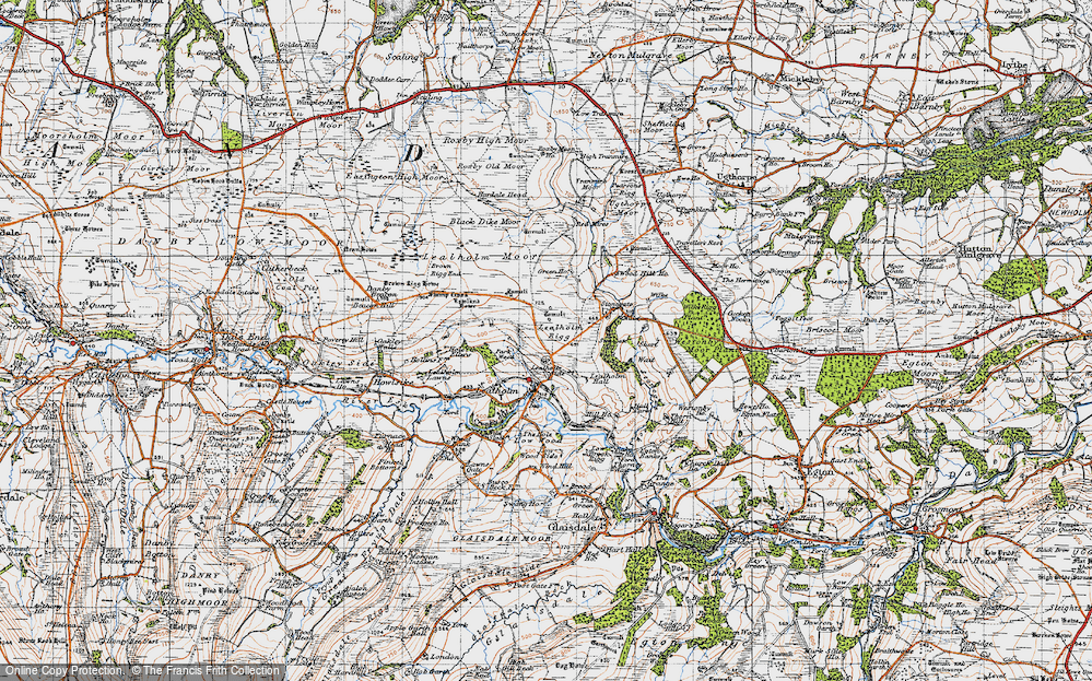 Old Map of Historic Map covering Lealholm Moor in 1947