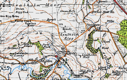 Old map of Lealholm Moor in 1947