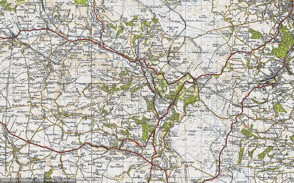 Old Map of Historic Map covering Leam Hall in 1947
