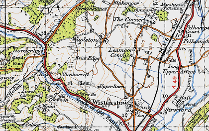 Old map of Leamoor Common in 1947