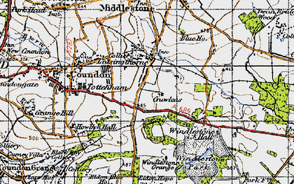 Old map of Leasingthorne in 1947