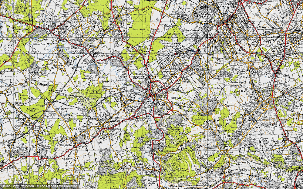 Old Map of Leatherhead, 1945 in 1945