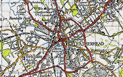 Old map of Leatherhead in 1945