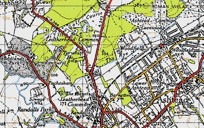 Old map of Woodlands Park in 1945