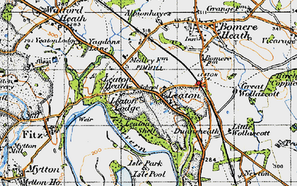 Old map of Leaton in 1947