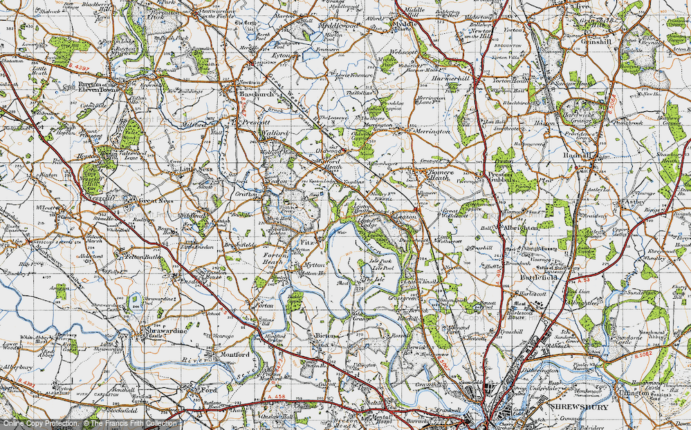 Old Map of Historic Map covering Yeaton Peverey in 1947