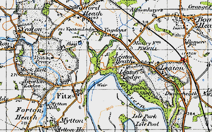 Old map of Leaton Heath in 1947