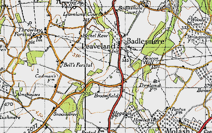 Old map of Leaveland in 1940