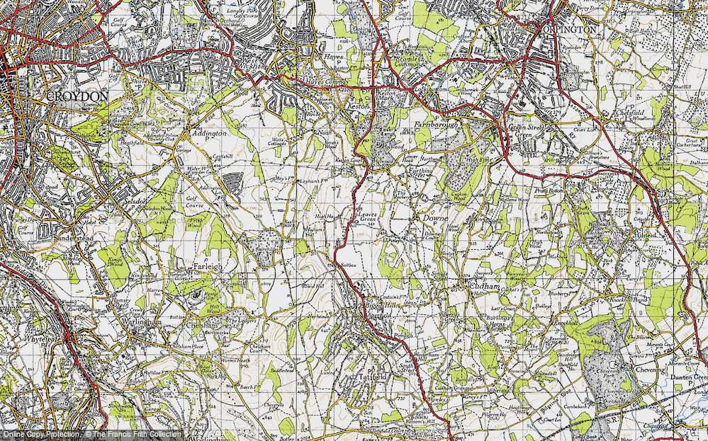 Old Map of Leaves Green, 1946 in 1946