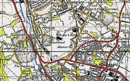 Old map of Leavesden Green in 1946