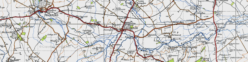 Old map of Lechlade on Thames in 1947