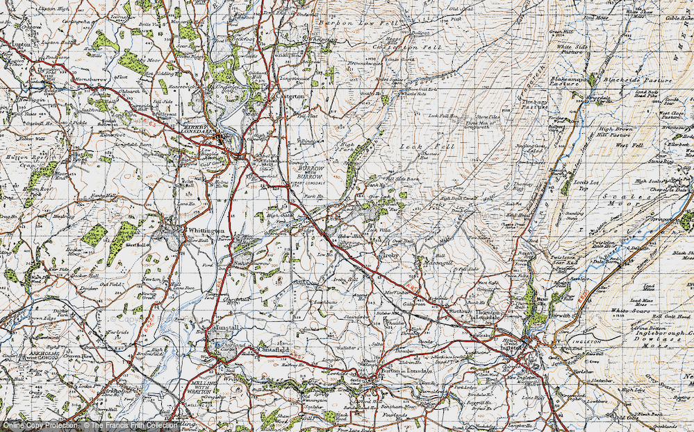Old Map of Historic Map covering Leck Fell in 1947