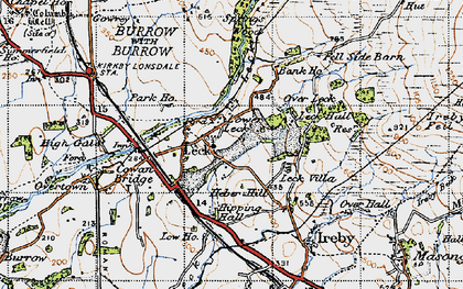 Old map of Leck Beck in 1947