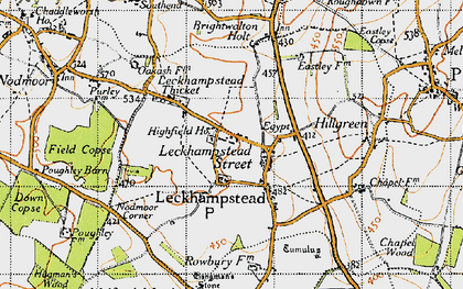 Old map of Leckhampstead in 1947