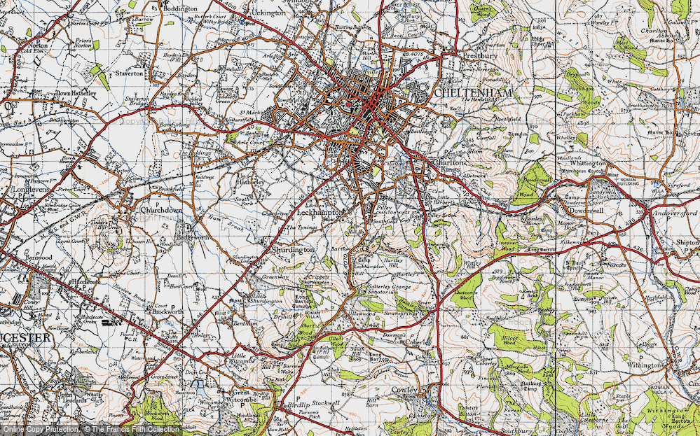 Old Map of Historic Map covering Leckhampton Hill in 1946