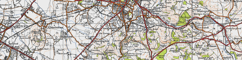 Old map of Leckhampton Hill in 1946