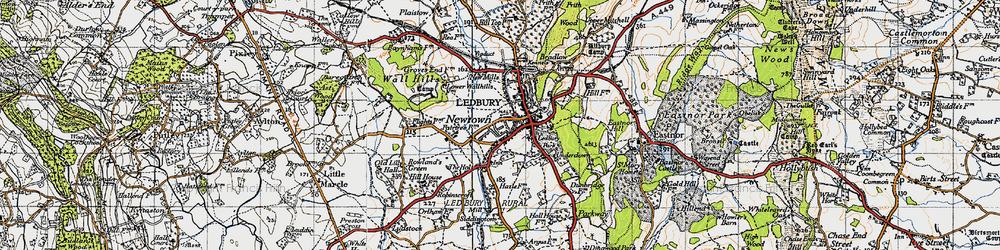 Old map of Ledbury in 1947