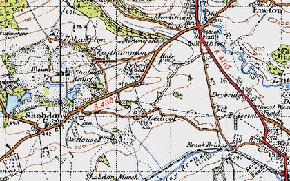 Old map of Ledicot in 1947