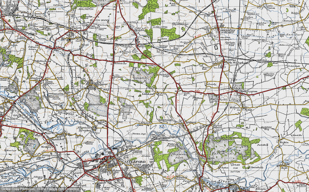 Old Map of Historic Map covering Ledston Park in 1947