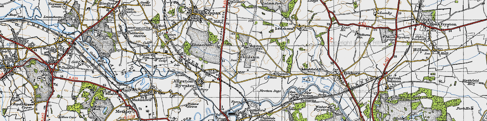 Old map of Ledston in 1947