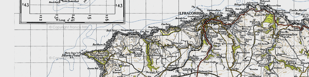 Old map of Windcutter Hill in 1946