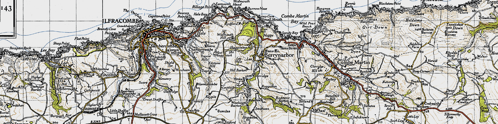 Old map of Woolscott Barton in 1946