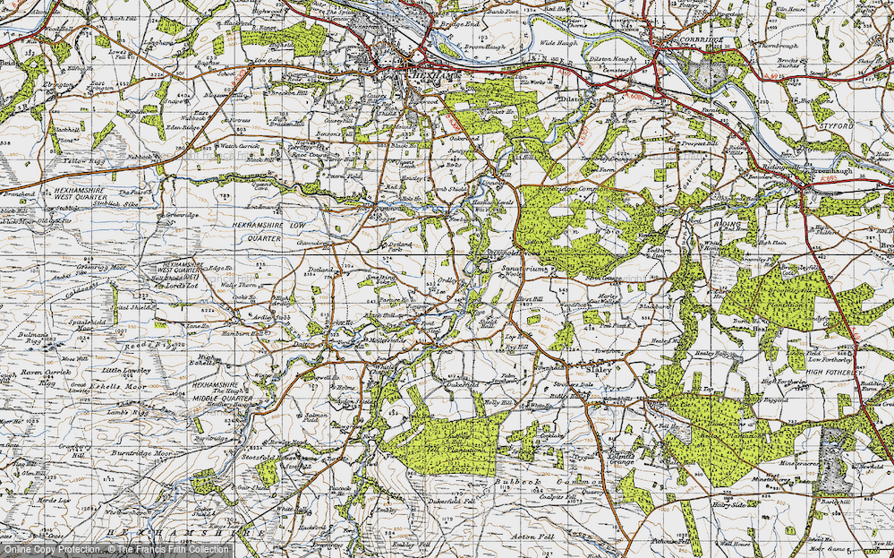 Old Map of Historic Map covering Linnel Hill in 1947