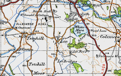Old map of Lee Bridges in 1947