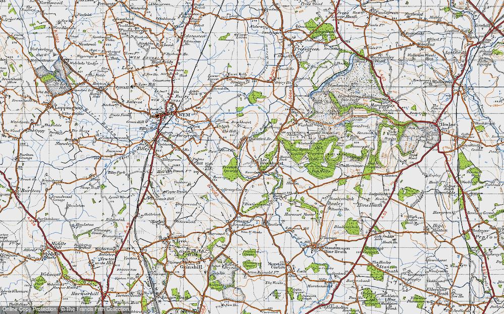 Old Map of Lee Brockhurst, 1947 in 1947