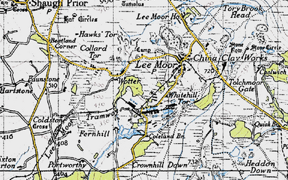 Old map of Lee Moor in 1946