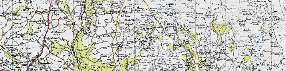 Old map of Whitehill Tor in 1946