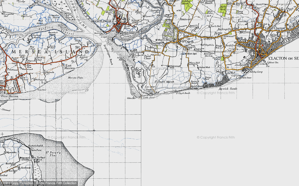 Old Map of Lee-over-Sands, 1945 in 1945