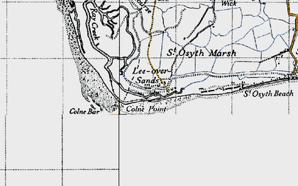 Old map of Lee-over-Sands in 1945