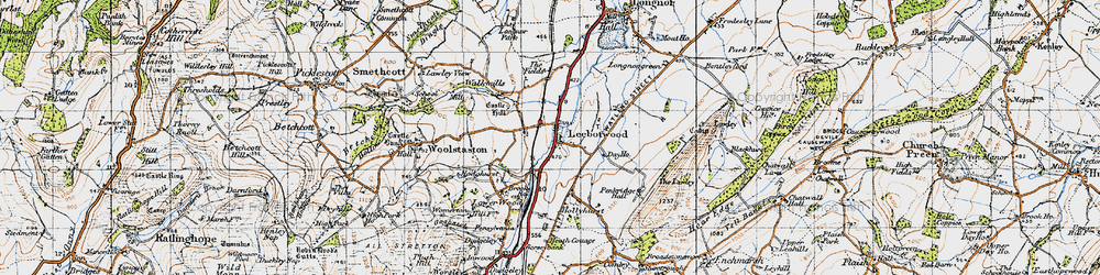 Old map of Leebotwood in 1947