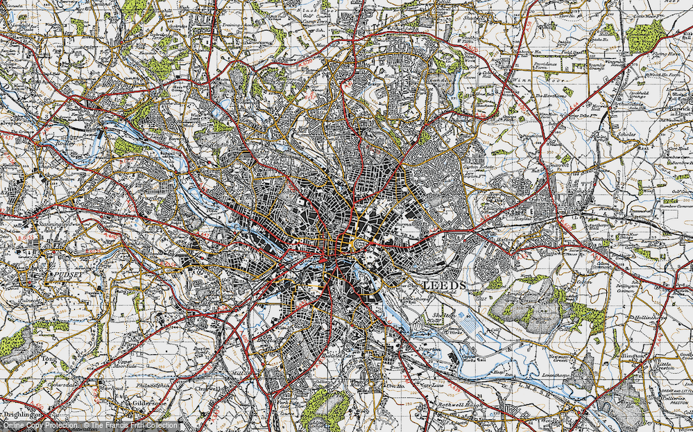 Map of Leeds 1947 Francis Frith