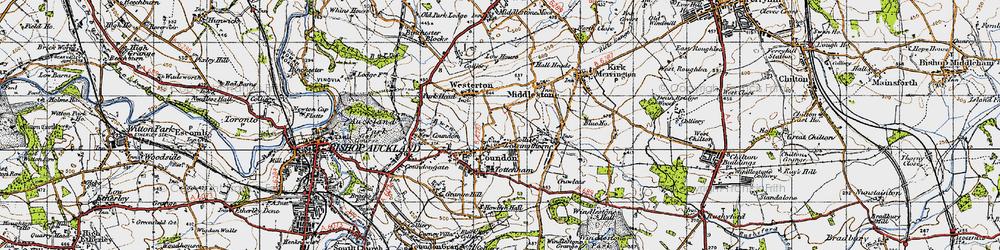 Old map of Leeholme in 1947