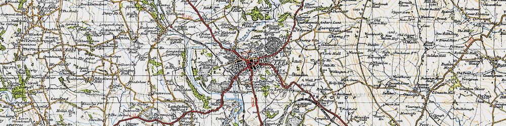 Old map of Leek in 1947