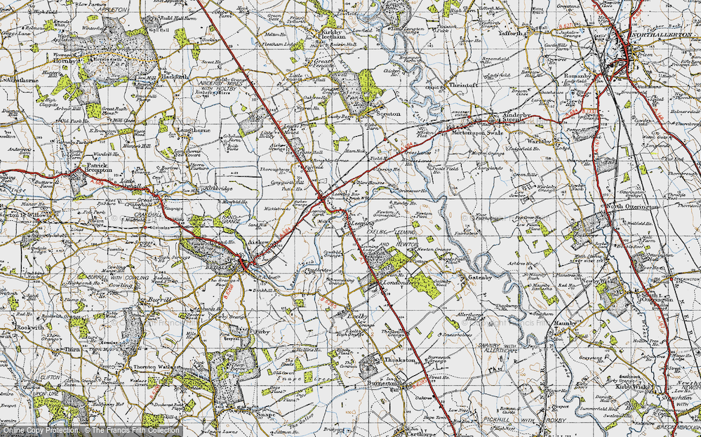 Old Map of Historic Map covering Leeming Lodge in 1947